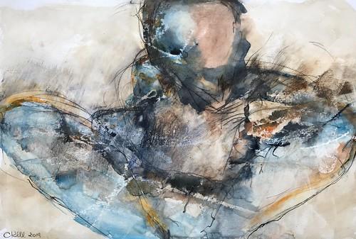 Körperlandschaft - bodylandscape, Mixed Media on paper, 40 x 60 cm,  2019