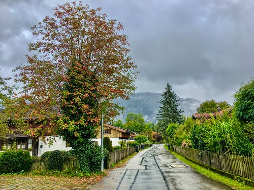 Autumn has arrived with clouds and rain in Kiefersfelden, Bavaria, Germany
