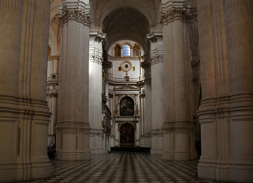 Columns and vaults of the Granada Cathedral