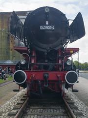 Dampflokomotive der Baureihe 43 in Emden, Deutschland, Ansicht von vorne
