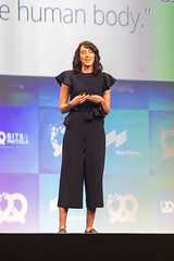 Open Bionics Co-founder and COO Samantha Payne addresses the #bits19 audience in Munich