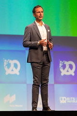 BMW Foundation Responsible Leaders Network Board Member Frank Niederländer speaks on the stage at the founders' conference Bits & Pretzels