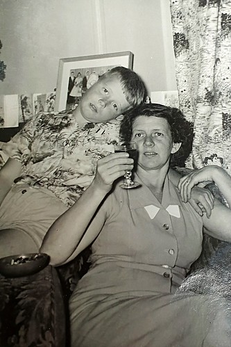 A copy of a very old photo that I had taken with my kotak box camera in 1962 of my lovely Aunty Maureen and her son Jimmy