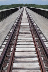 The rail leads to dead end of the bridge