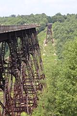 The bridge ends in Pennsylvania hillside
