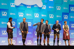 Oktoberfest atmosphere with traditional dresses of the hosts and founders of start-up-conference Bits & Pretzels 2019 in Munich