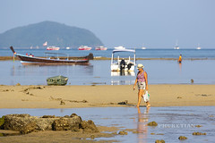 Fishermen and people collecting shells and crabs at low tide. Rawai Beach, Phuket, Thailand. 09/27/201