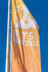 Orange flag of the Bits & Pretzels startup event in Munich, Germany