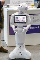 Pepper Roboter by Humanizing Technologies created for human interactions and business usage with touchscreen display, can talk, listen, move and dance