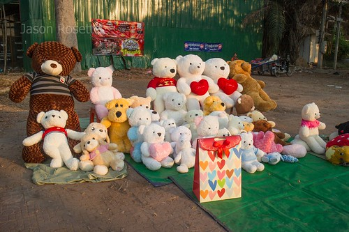 Wide View Group of Teddy Bears in Love by the Roadside