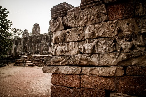 Apsara Dancers on Carved Angkorian Temple Wall, Siem Reap