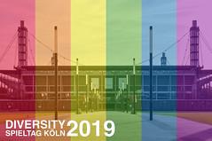 Rheinenergiestadion Köln hinter den Farben der Regenbogenflaggen, passend zum Diversity Spieltag Köln 2019