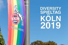 1. FC Köln Fußballverein hisst Regenbogenflagge für den Diversity Spieltag Köln 2019