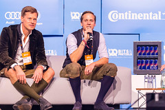 Venture capitalists Christian Saller and Christopher Steinau intervene during the startup pitch finals at #bits19