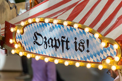 """Typical Oktoberfest sign """"Ozapft is!"""": it's time to drink beer and party!"""