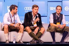 Drei von den sechs Risikokapitalgeber und Juroren beim Bits & Pretzels Startup-Wettbewerb: Michael Treskow, Christian Saller und Christopher Steinau