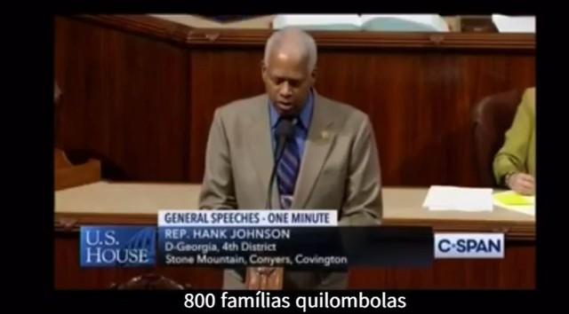 O deputado estadunidense Hank Johnson usou a tribuna do Congresso para criticar o acordo entre Brasil e EUA  - Créditos: Foto: Reprodução