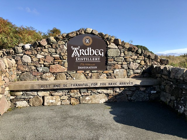 Wee Bit of Scottish Hyperbole in Ardbeg Distillery's Welcome Sign