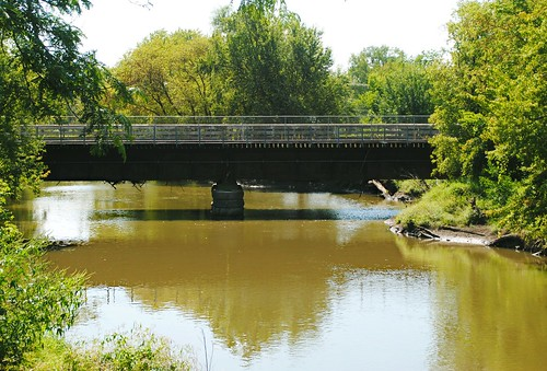Former Chicago and North Western Railway bridge over the Baraboo River.