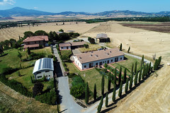 Aerial view of houses in Pienza, Val d'Orcia, Italy