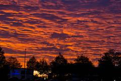 Münchner Sonnenuntergang färbt den Himmel orange und lila