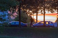 Herbstliche Abendsonne im Hintergrund und Promenade im Vordergrund