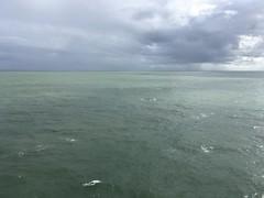 Green sea and grey sky