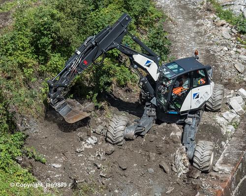 Shovel Excavator on the Rabiusa River, Versam, Canton of Grisons, Switzerland