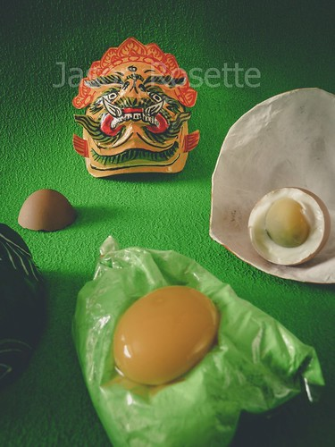 Green Still Life with Egg and Masks (#3)