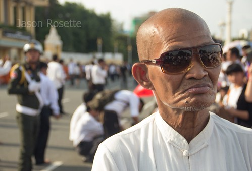 Close up Man Awaits Arrival of the Dear Departed King Father Sihanouk at Royal Palace
