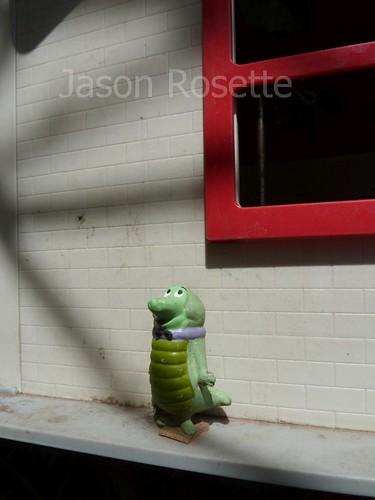 Green Monster on Improvised Spirit House, Cambodia