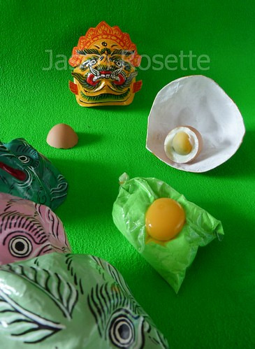 Green Still Life with Egg and Masks (#4)