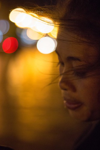Profile of Woman at Night in Cambodia