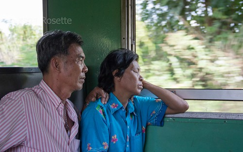 Man and Woman on a Train in Thailand