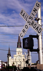 """New Orleans - Jackson Square """"St. Louis Cathedral From Railroad Crossing"""""""