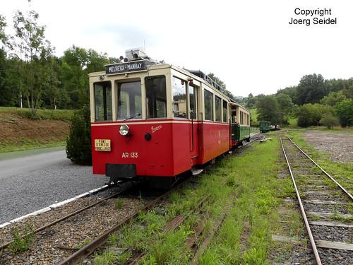 BE-6997 Pont-d'Erezée Gare Tramway Touristique de l'Aisne (TTA) SNCV Autorail AR 133 im August 2019