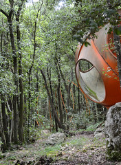 antti lovag, habitologue: prototype near his workshop in the forests of tourrettes-sur-loup, late 1960's or early 1970's