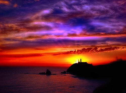 Puesta de sol sobre el Cabo de Gata