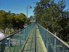 Gympie. Elevated bridge to a gold poppet. In the Gympie Gold Museum complex.