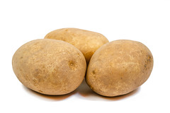 Whole Potatoes isolated on the white background