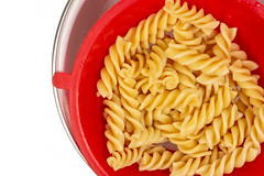 Cooked Pasta in the plastic colander