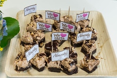 Gluten-free pieces of Almondy Toblerone cake on a wooden board