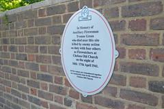 Firewatcher's memorial to Yvonne Green
