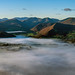 Panoramic of a misty Derwent Water and Bassenthwaite from Dodd one Autumn morning 02/10/19