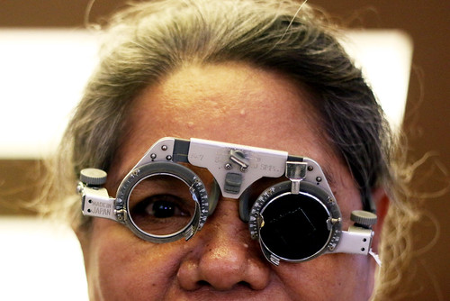 A middle-aged citizen doing an eye examination in Makassar City, South Sulawesi Province, Indonesia. A data noted, the prevalence of dry eye in the world was recorded around 20-50 percent. This condition indicates that dry eye is a health problem that is