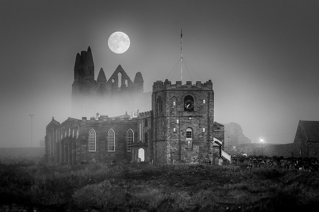 Misty Moonrise At Whitby Abbey