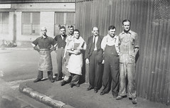Staff of the coffee roasting department, corner of Playfair and Atherton Streets, The Rocks, Bushells Tea Factory, Sydney, 1936