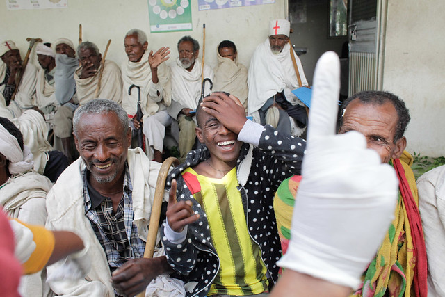 After surgery screening at an ophthalmic outreach in Ethiopia.