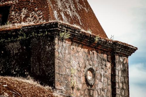 Detail of Colonial Era Church Atop Bokor Mountain, Cambodia, Southeast Asia