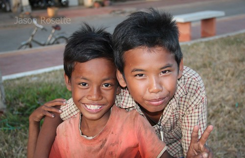 Boys Pose for a Photo, Kampot Province Cambodia